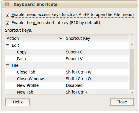 "Set your copy and paste shortcuts to ""Super+c"" and ""Super+v"""